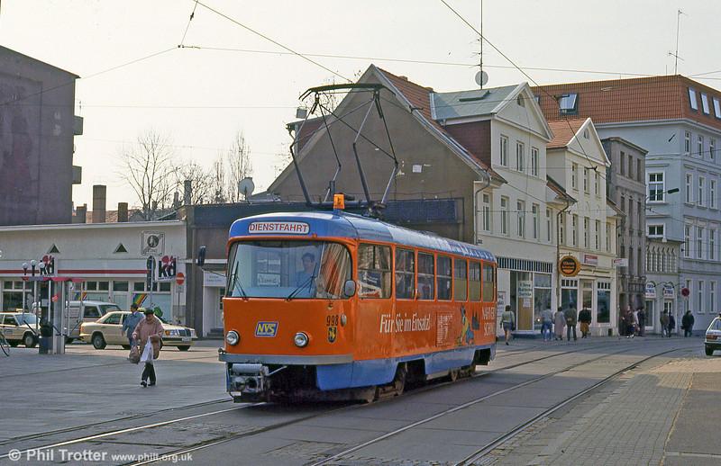 Schwerin Tatra T3D works car 998 at Marienplatz on 15th April 1993.