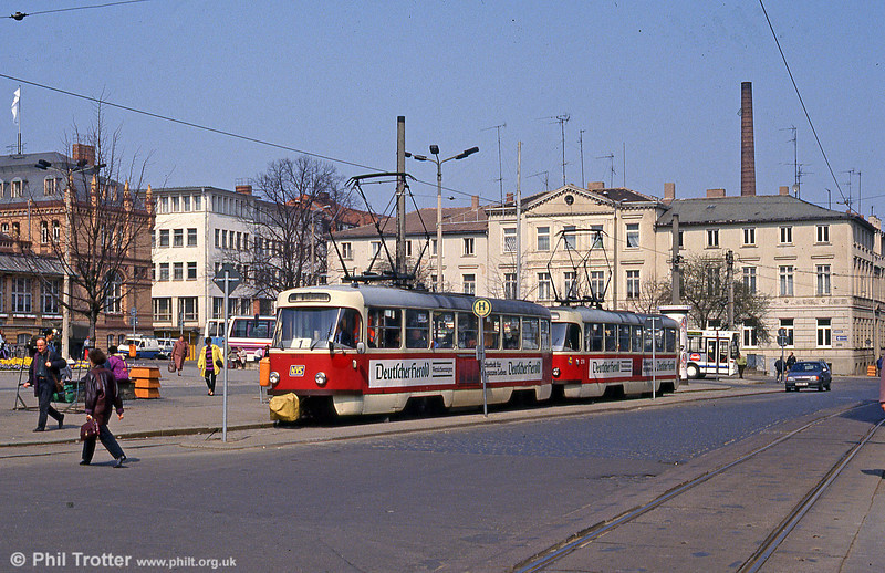 Tatra T3D 235 at the Hauptbahnhof on 15th April 1993.