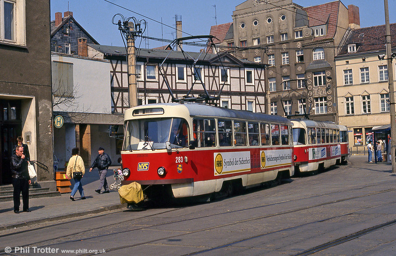 Schwerin Tatra T3 283 at Marienplatz on 15th April 1993.