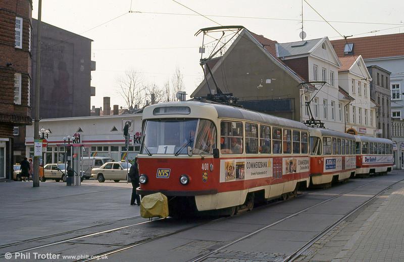 Schwerin Tatra T3D 401 at Marienplatz on 15th April 1993.