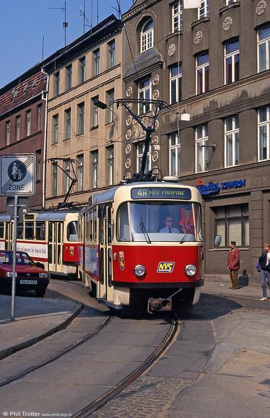 Tatra T3D 151 at Hegelstrasse on 15th April 1993.