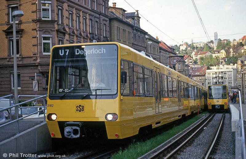 Stuttgart 3182 at Charlottenstrasse on 21st April 1993.