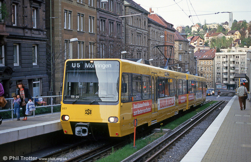 Stuttgart 3177 at Charlottenstrasse on 21st April 1993.