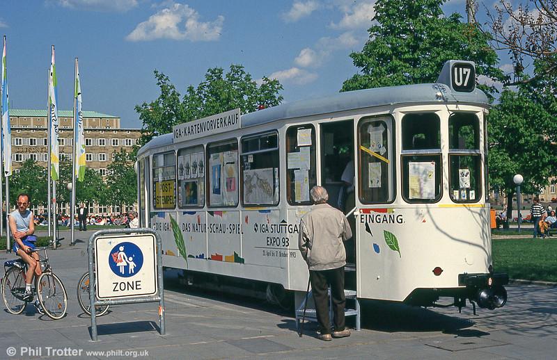 A former Stuttgart trailer in use as an information centre for the International Garden Show at Schlossplatz on 21st April 1993.