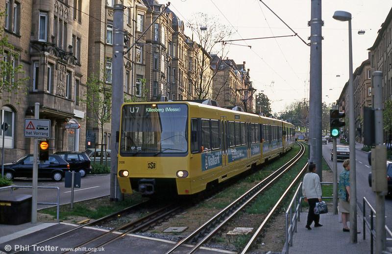 Stuttgart 3126 at Charlottenstrasse on 21st April 1993.