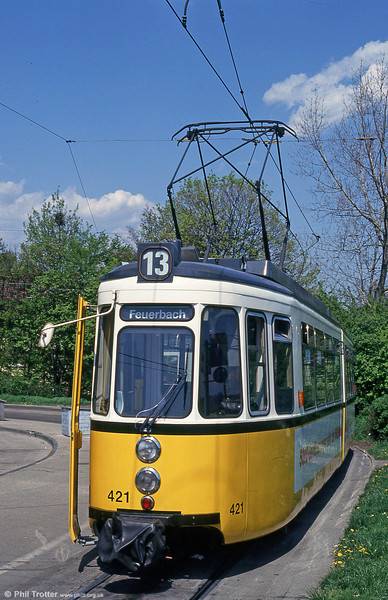 Stuttgart 421 at Gerlingen terminus on 21st April 1993.