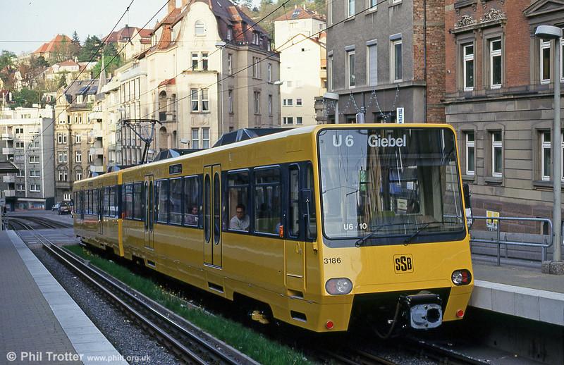 Stuttgart 3186 at Charlottenstrasse on 21st April 1993.