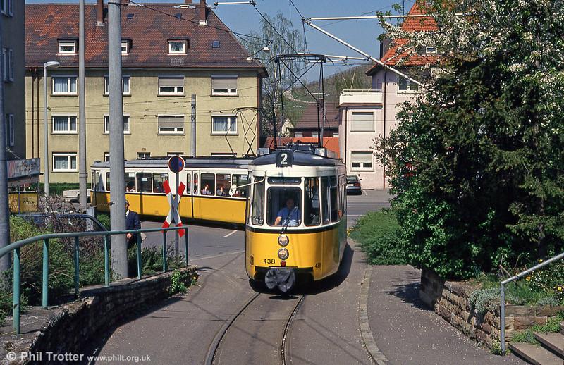 Stuttgart 438 at Obere Ziegelei on 21st April 1993.