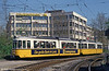 One of Stuttgart 's iconic Esslingen GT4 cars, 406 at Wilhelmplatz on 21st April 1993. 380 of these trams were produced by Maschinenfabrik Esslingen between 1959 and 1965, of which 350 were delivered to the Stuttgarter Strassenbahnen. The remaining 30 vehicles were delivered to Freiburg (19), Neunkirchen (8) and Reutlingen (3). As Stuttgart developed Stadtbahn standard gauge light rail system in operation from 1985 onwards, some surplus GT4 cars were sold to other cities including Iaşi, Romania (56), Augsburg (40 with 23 cars later resold to Iaşi), Halle (38 with 27 cars later resold to Iaşi), Nordhausen (12 with 3 cars later resold to Iaşi), Ulm, Halberstadt, Brandenburg, Arad (Romania) and Kōchi (Japan).