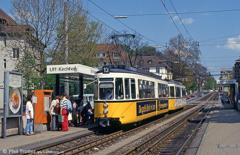 Stuttgart 447 at Kirchhof on 21st April 1993.
