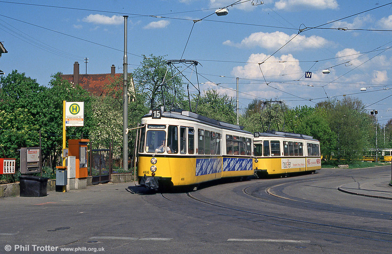 The old order at Stuttgart. Metre gauge GT4 cars, headed by 466, at Stammheim terminus on 21st April 1993.