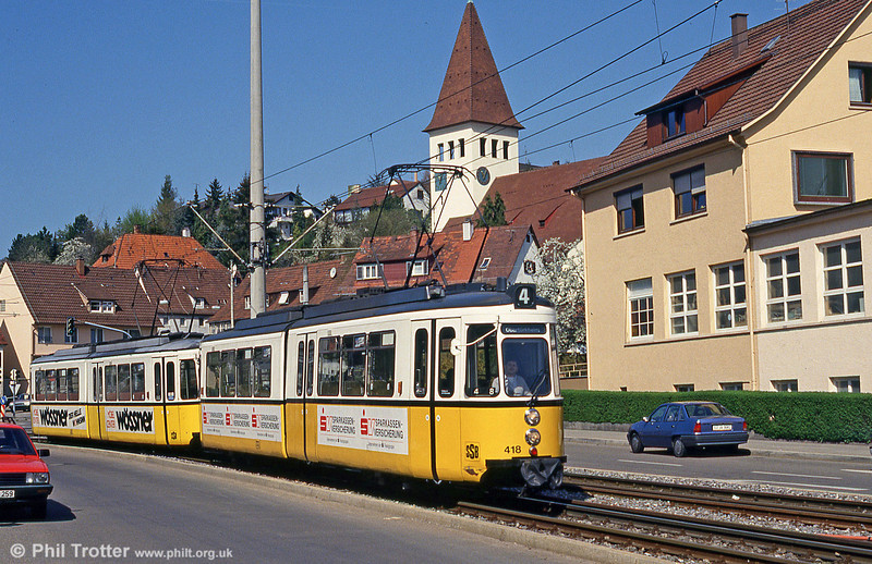 Stuttgart 418 at Botnang on 21st April 1993.
