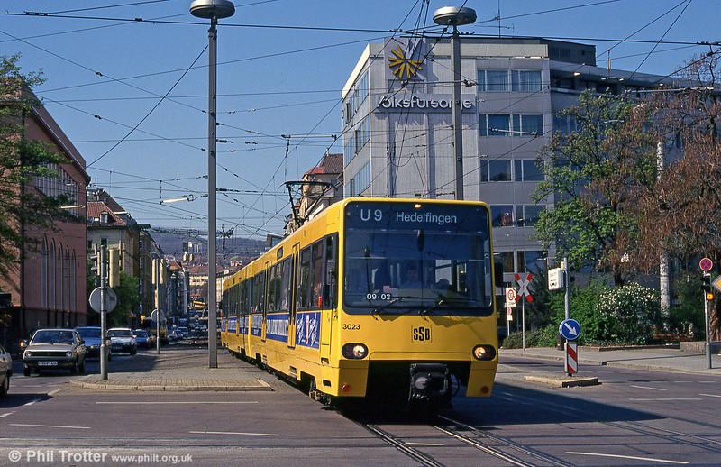 Stuttgart standard gauge Duewag car 3023 in Berliner Platz on 21st April 1993.
