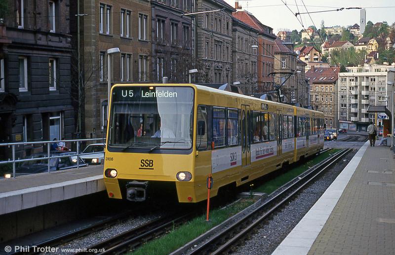 Stuttgart 3108 at Charlottenstrasse on 21st April 1993.