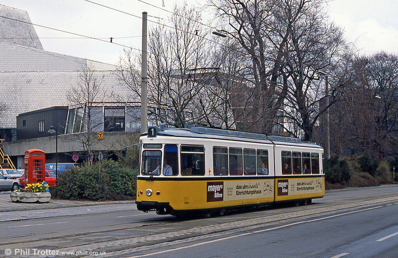 Ulm car 4 and a familiar-looking phone box at the Hauptbahnhof on 4th April 1991.