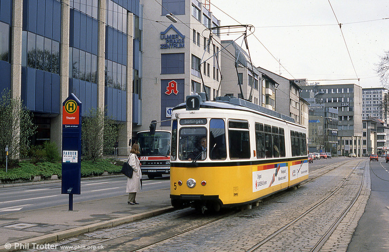 Ulm car 5 at Theater on 4th April 1991. (Pubished in Modern Tramway, 9/91.)