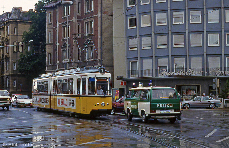 Ulm car 12 and a road accident at Willy Brandt Platz on 3rd August 1993.