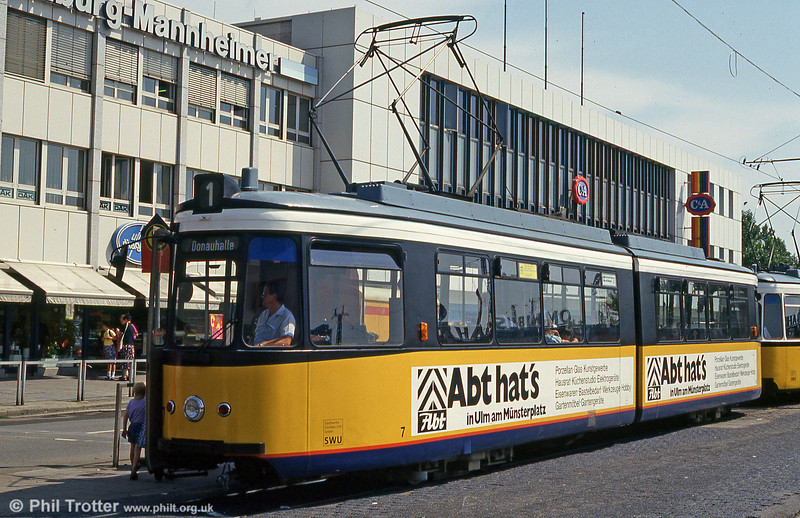 Ulm car 7 at the Hauptbahnhof on 3rd August 1993.