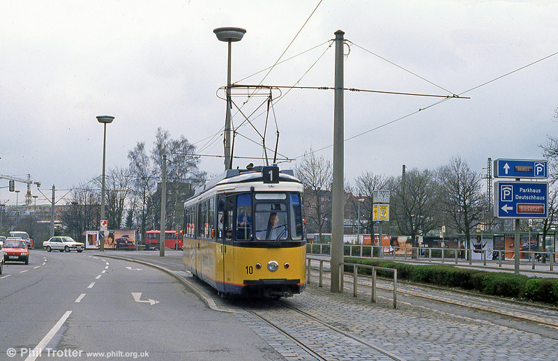 Ulm car 10 at the Hauptbahnhof on 4th April 1991.