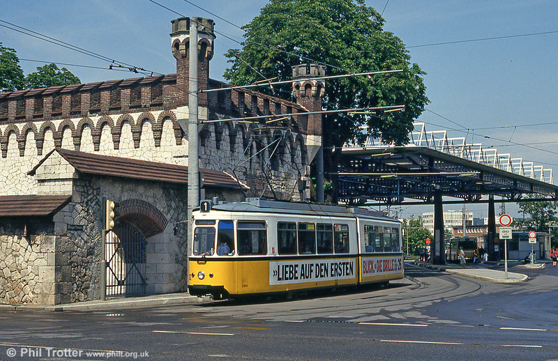 Ulm car 12 at Ehinger Tor on 3rd August 1993.