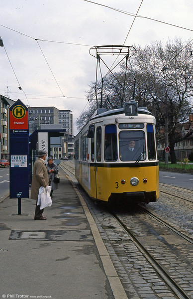 Ulm car 3 at Theater on 4th April 1991.