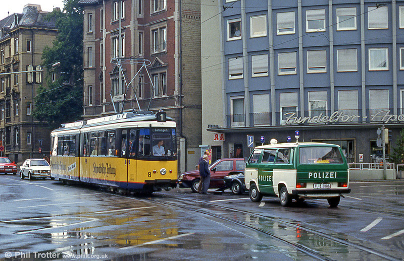Oops! Ulm car 8 passes a road accident at Willy Brandt Platz on 3rd August 1993.
