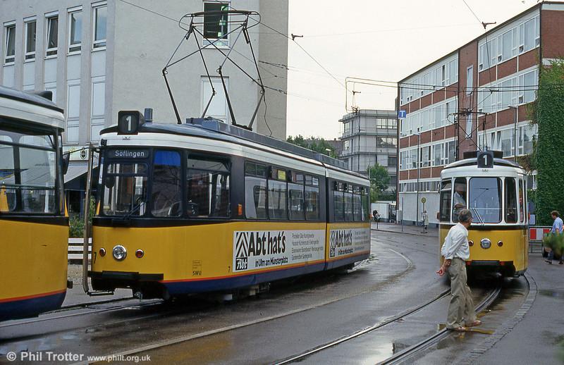 Ulm car 7 at Willy Brandt Platz on 3rd August 1993.