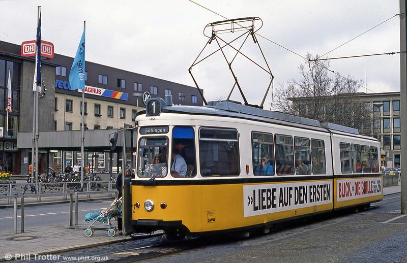 Ulm car 12 at the Hauptbahnhof on 4th April 1991.
