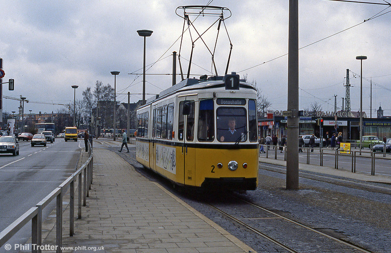 Ulm car 2 at the Hauptbahnhof on 4th April 1991.