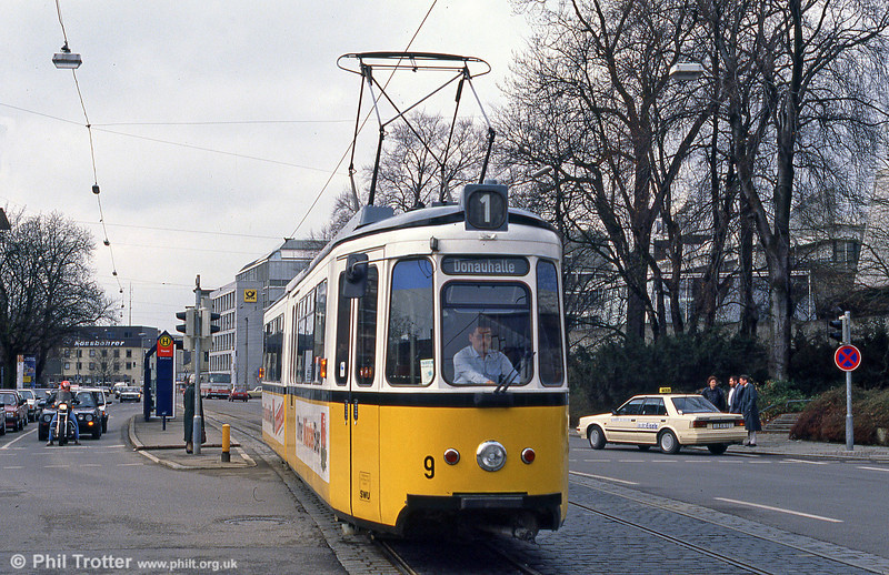 Ulm car 9 at Theater on 4th April 1991.