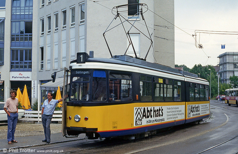 Ulm car 7 at Willy Brandt Platz on 3rd August 1993.