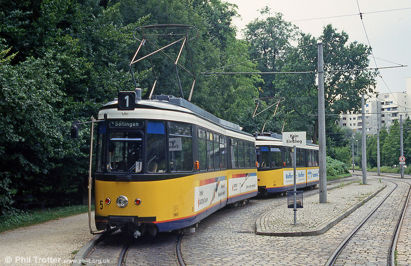 Ulm car 5 at Donauhalle terminus on 3rd August 1993.