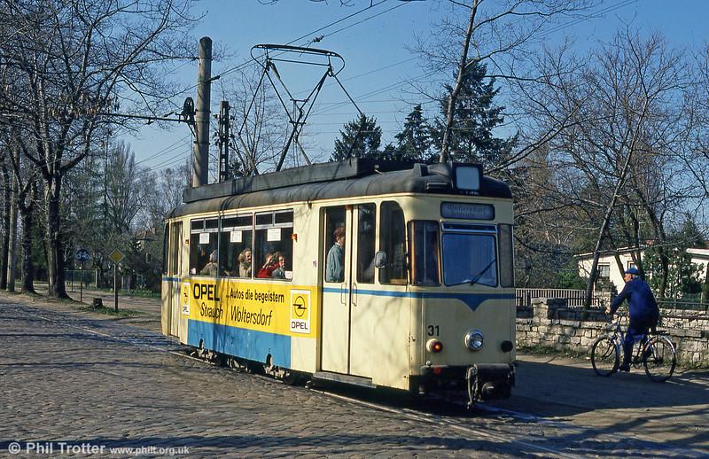 Gotha car 31 at Thalmannplatz, Woltersdorf on 10th April 1991.