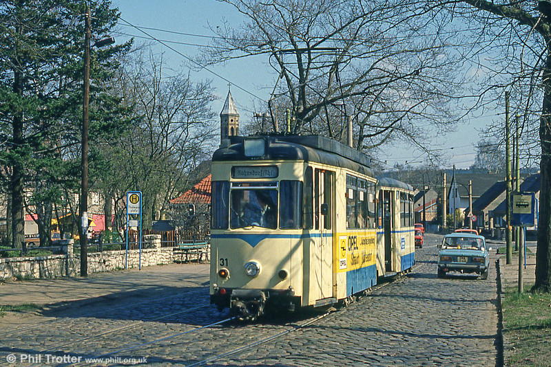 1959 Gotha car 31 (ex Dresden, 1985) at Thalmannplatz, Woltersdorf on 10th April 1991.