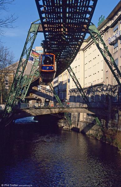 Wuppertal car 6 at Elberfeld on 12th April 1991.
