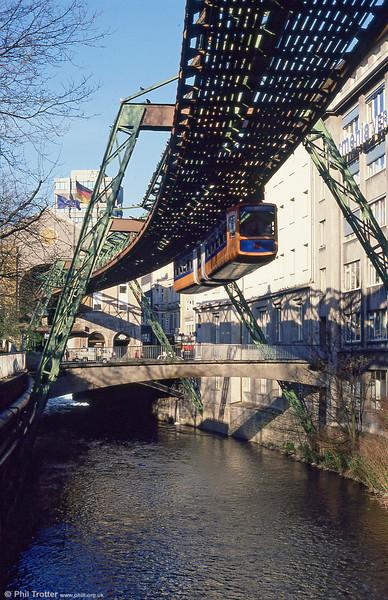 Wuppertal car 10 at Elberfeld on 12th April 1991.
