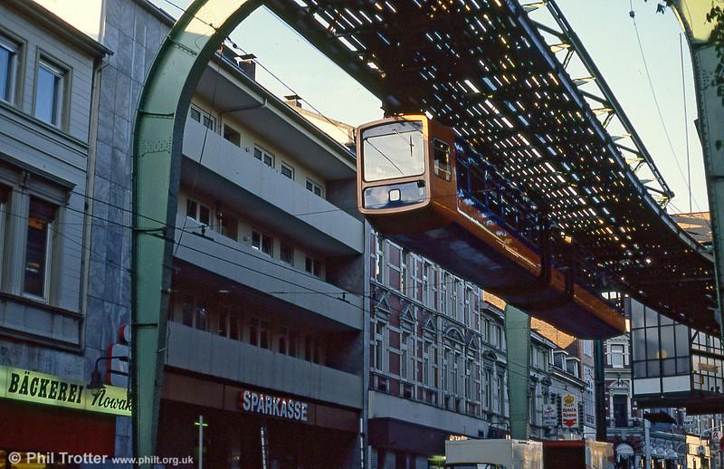 Wuppertal car 1 at Elberfeld on 12th April 1991.