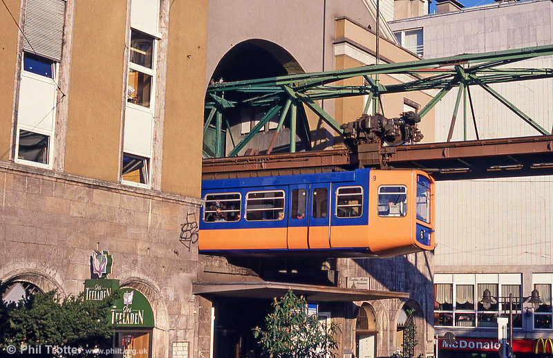 Wuppertal car 9 at Elberfeld on 12th April 1991.