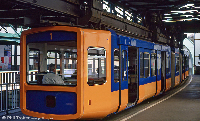 Wuppertal car 1 in close up at Vohwinkel on 21st April 1994.