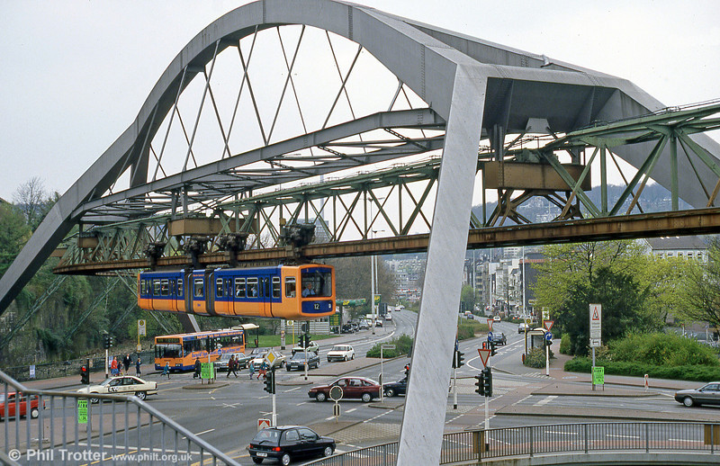 Wuppertal is famed for its overhead monorail, the Schwebebahn (or if you must, the 'Danglebahn'!). The system is worked by what are effectively 28 upside down trams built in the early 1970s. Here, car 1 is seen neatly avoiding a traffic junction at Ohligsmule on 21st April, 1994.