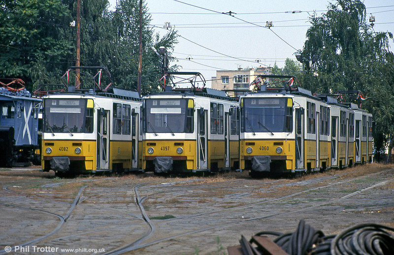 A line up of Budapest Tatra T5C5s, 4082, 4097 and 4060 at Budafok kocsiszín on 19th August 1992.