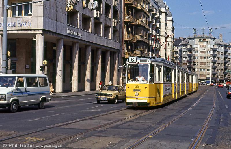 Budapest Ganz CSMG2 1358 at Mártírok útja on 19th August 1992.