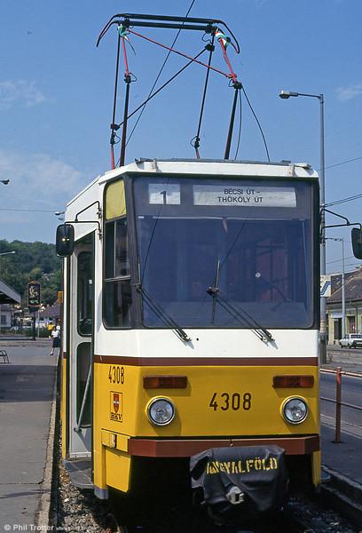 Budapest Tatra T5CS no. 4308 at Bécsi út on 19th August 1992.
