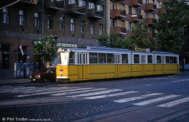 Budapest Ganz CSMG2 1316 at Haller utca on 19th August 1992.