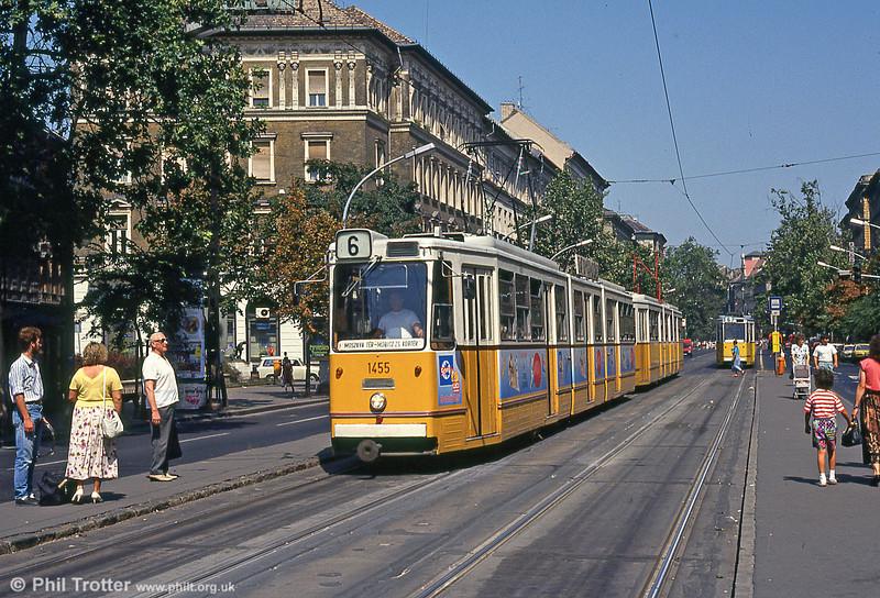 Budapest Ganz CSMG2 1455 at Móricz Zsigmond körtér on 19th August 1992.