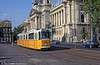 Budapest Ganz CSMG2 1332 passing the Neprajzi Museum in 'Parliament Square' on 19th August 1992.