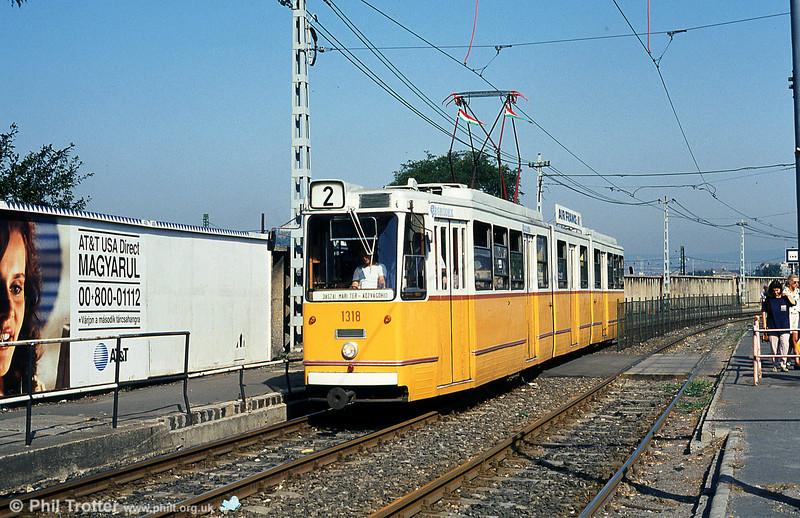 Budapest Ganz CSMG2 1318 at Soroksári út on 19th August 1992.
