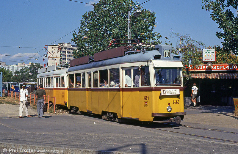 Budapest 3469, a Ganz built UV3 of 1961, one of 121 similar cars in that city, at Ors vezer tere on 18th August 1992.