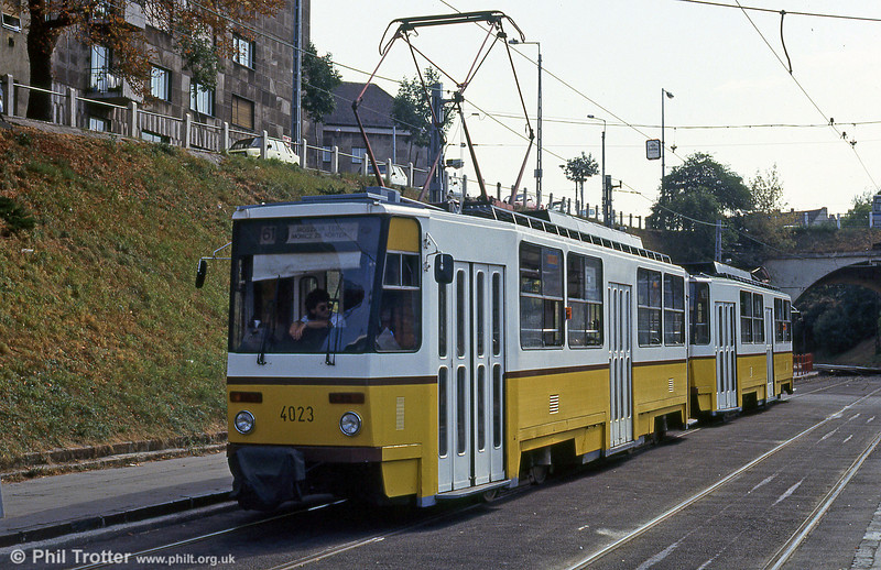 Budapest Tatra T5C5 4023 at Moszkva tér on 19th August 1992.