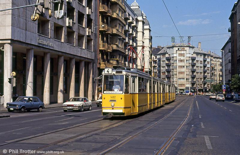Budapest Ganz CSMG2 1402 at Mártírok útja on 19th August 1992.